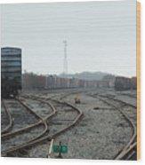 Train On Tracks Wood Print