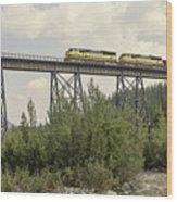 Train On Trestle Wood Print