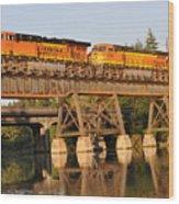 Train Over Water Wood Print