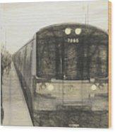 Train Sketch Wood Print