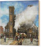 Train Station - Boston And Maine Railroad Depot 1910 Wood Print