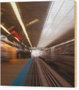 Train Station In Motion Wood Print