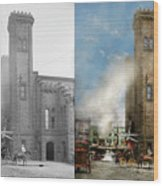 Train Station - Look Out For The Train 1910 - Side By Side Wood Print