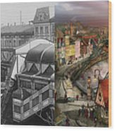 Train Station - Wuppertal Suspension Railway 1913 - Side By Side Wood Print