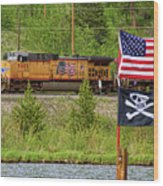 Train The Flags Wood Print