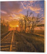 Train Track Sunrise Wood Print