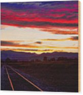 Train Track Sunset Wood Print by James BO  Insogna