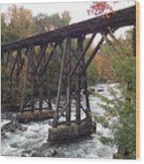 Train Tracks Over The Winnipesaukee River Wood Print
