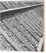 Train Tracks Triangular In Black And White Wood Print