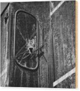 Train Vandalized Black And White Wood Print