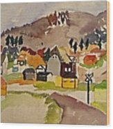 Train Whistle Stop Village  Wood Print