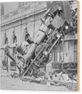 Train Wreck At Montparnasse Station Wood Print