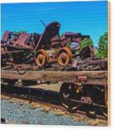 Train Wreckage On Flat Car Wood Print