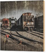 Train Yard Wood Print