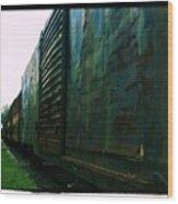 Trains 12 Cross Process Border Wood Print