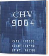 Trains 14 Cyanotype Wood Print