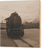 Trains 3 Sepia Wood Print