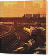 Trains At Sunrise Wood Print