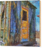 Trains Box Car Yellow Door Pa 02 Wood Print
