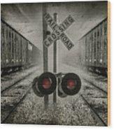 Trains Crossing Wood Print