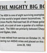 Trains Mighty Big Boy Signage Wood Print