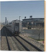 Trains Passing The Home Of The Chicago White Sox Wood Print