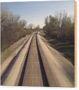 Trains Power Approaching The Crossing Wood Print