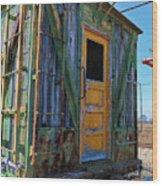 Trains Wooden Box Car Yellow Door Wood Print