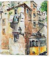 Tram In Lisboa Wood Print