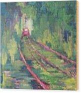 Pink Tram Wood Print