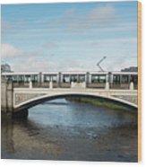 Tram On The Sean Heuston Bridge Wood Print