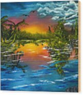 Tranquil Lake Wood Print