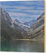 Tranquil Mountain Lake Wood Print
