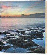 Tranquil Sunrise At Coral Cove Beach Wood Print