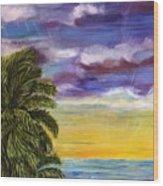 Tranquility At Kapoho Last Sunset Wood Print