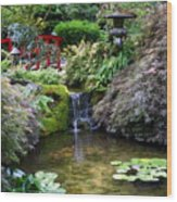 Tranquility In A Japanese Garden Wood Print