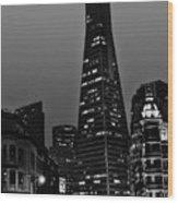 Trans American Building At Night Wood Print