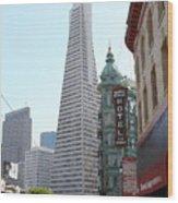 Transamerica Pyramid Through North Beach San Francisco . 7434 Wood Print by Wingsdomain Art and Photography