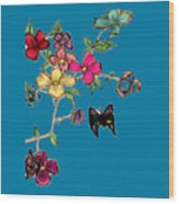Transparent Flowers And Butterflies In Color Wood Print