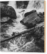 Trap Falls In Ashby Ma Black And White 9 Wood Print