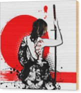 Trash Polka - Female Samurai Wood Print