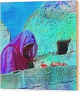 Travel Exotic Woman On Ramparts Mehrangarh Fort India Rajasthan 1e Wood Print