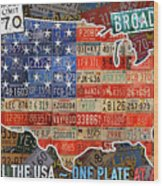 Travel The Usa One Plate At A Time License Plate Art By Design Turnpike Wood Print