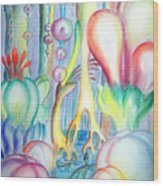 Travel To Planet Of Ball-shaped Flowers Wood Print