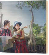 Traveler Finding Next Camping Point By A Map Wood Print