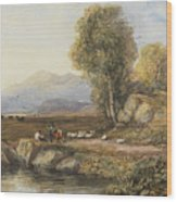 Travelers In A Welsh Landscape Wood Print