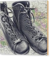 Traveling Boots Kentucky Wood Print