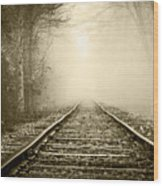 Traveling On The Tracks Antique Wood Print