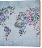 Traveler World Map Wood Print