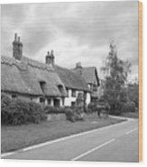 Travellers Delight - English Country Road Black And White Wood Print
